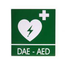 Cartello segnalatore da parete per defibrillatore in alluminio
