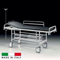 K101 - Barella da corsia su carrello in tubo di acciaio con sezione schienale regolabile e paracolpi