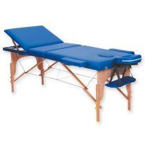 Lettino da Massaggio in Legno a 3 Sezioni - Altezza Regolabile - Blu