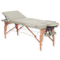 Lettino da Massaggio in Legno a 3 Sezioni - Altezza Regolabile - Crema